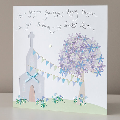 Church with Blue Bunting Tied to a Tree