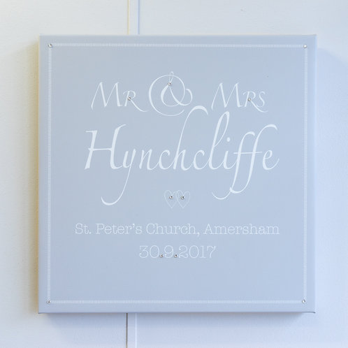Mr & Mrs Personalised Canvas Script Name - Grey Background