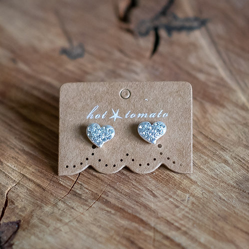 Encrusted Heart Stud Earrings