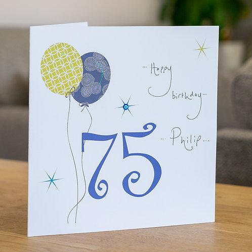 Birthday Balloon - Age 75 - Large Card