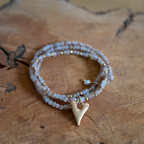 Crystal Necklace/Bracelet With Heart Charm