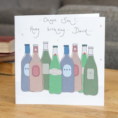 Beer Bottles Design - Large Square Card