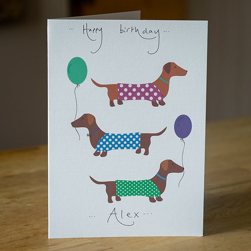 Dachshunds Sausage Dogs  Design - Personalised Card