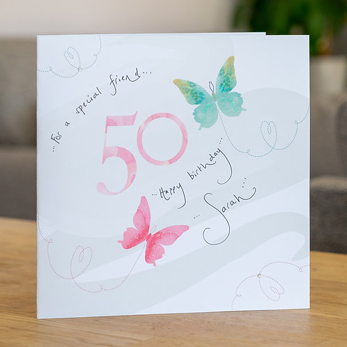 Watercolour Butterfies - Age 50 - Large Card