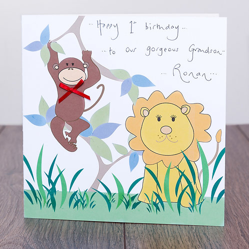 Lion and Monkey Design Large Square Personalised Card