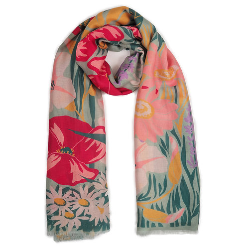 Printed Scarf Country Garden - Mint