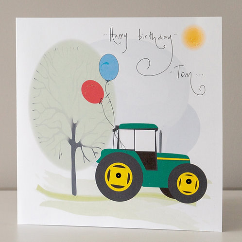 Tractor and Balloons Large Square Size