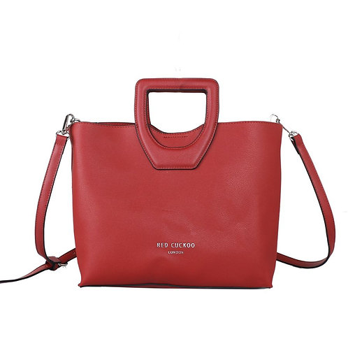 Red Bucket Handle Tote Bag by Red Cuckoo London