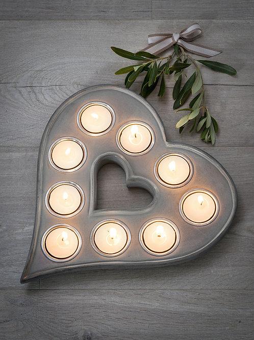 Heart Shaped 9 T Light Holder in Grey