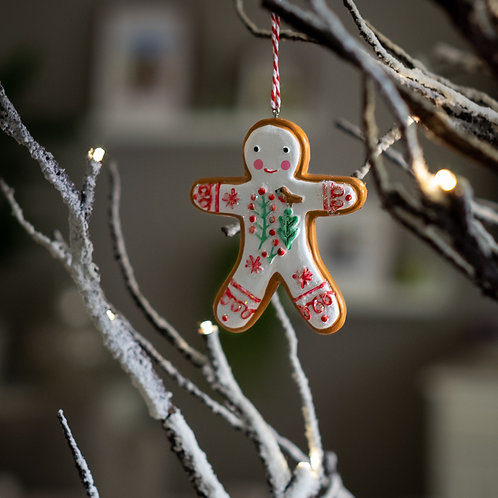 Iced Gingerbread Man Hanging Christmas Decoration