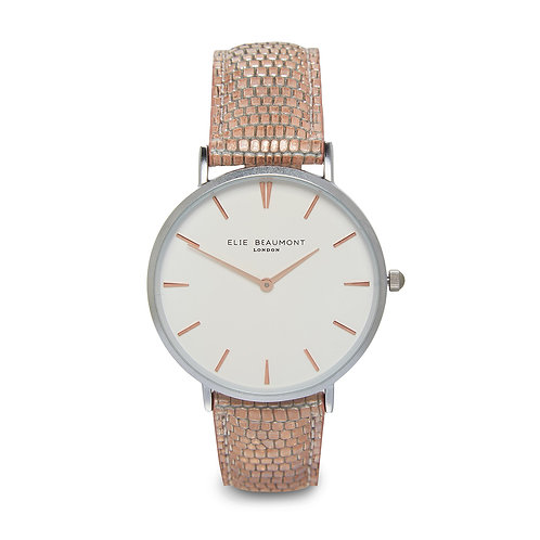Elie Beaumont Sloane Watch with Blush Pink Snakeskin Leather Strap