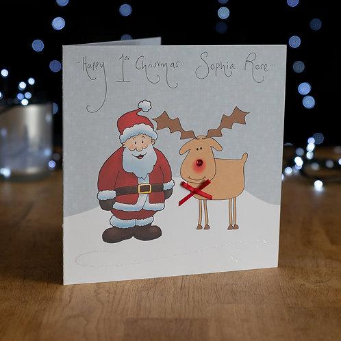 Santa and Rudolph Design - Large Card