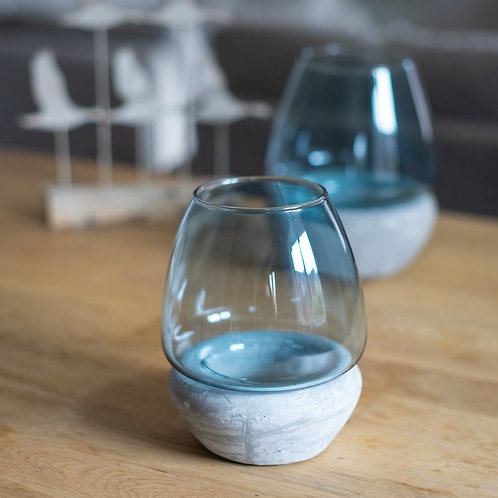 Blue Glass/Concrete Tea Light Holder - Medium