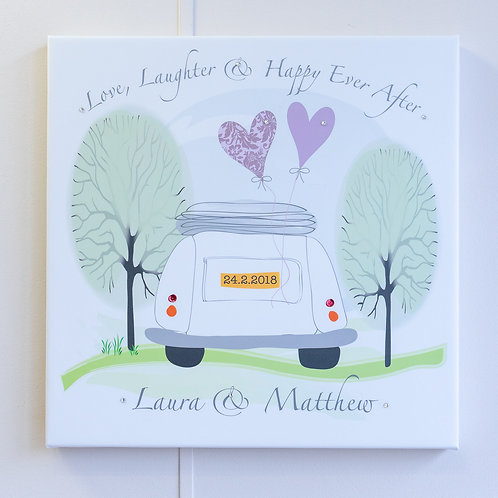 Love, Laughter & Happy Ever After Wedding Car Personalised Canvas