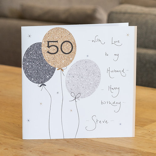 Sparkle Balloons 50 Design - Large Square Card
