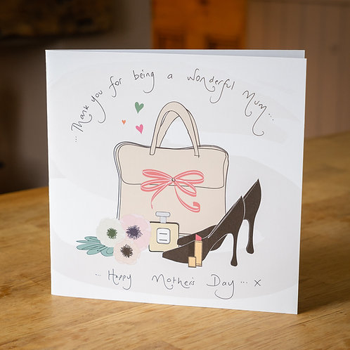 Handbag and Shoe Design Large Square Mother's Day Card
