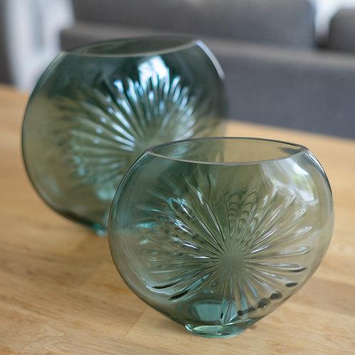 Green Glass Oval Vase - Medium Size