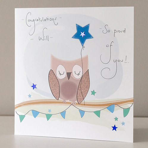 Owl with Blue Star Congratulations