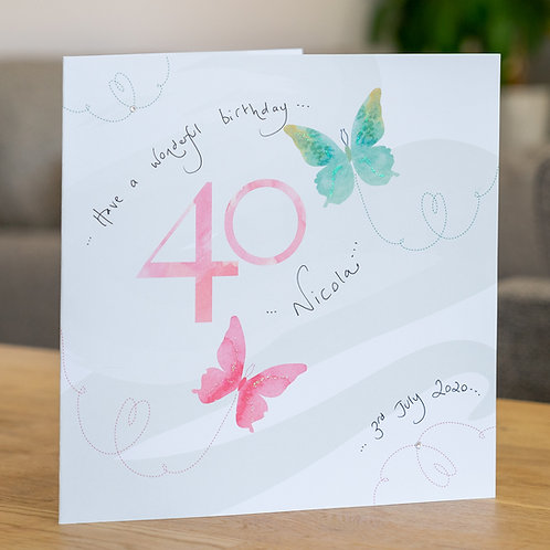 Watercolour Butterfies - Age 40 - Large Card