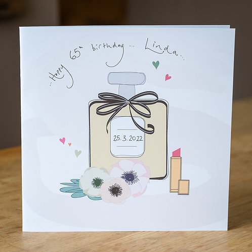 Perfume Bottle And Lipstick Design - Large Personalised Card
