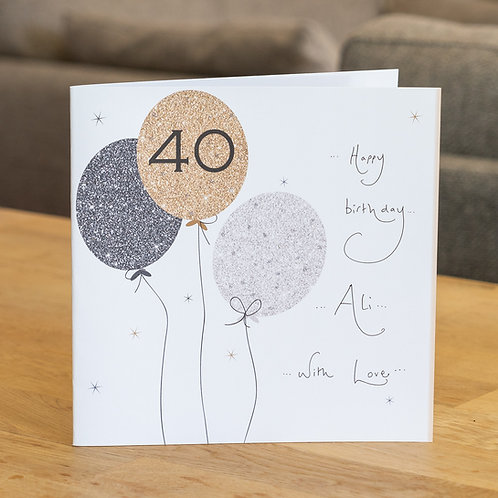 Sparkle Balloons 40 Design - Large Square Card