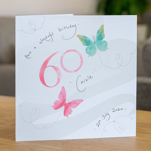Watercolour Butterfies - Age 60 - Large Card