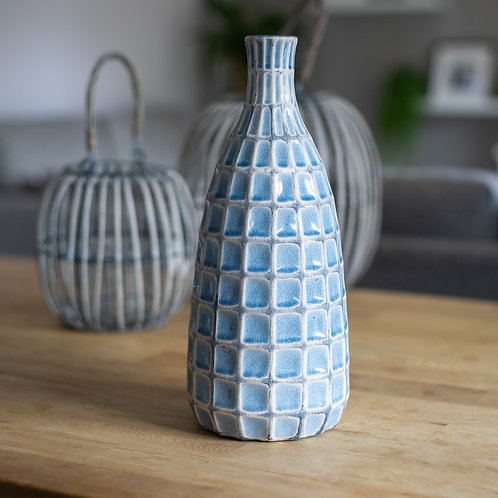 Large Blue Ceramic Decorative Vase