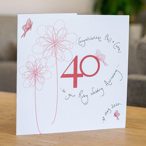 40th Anniversary Swirly Flower Design
