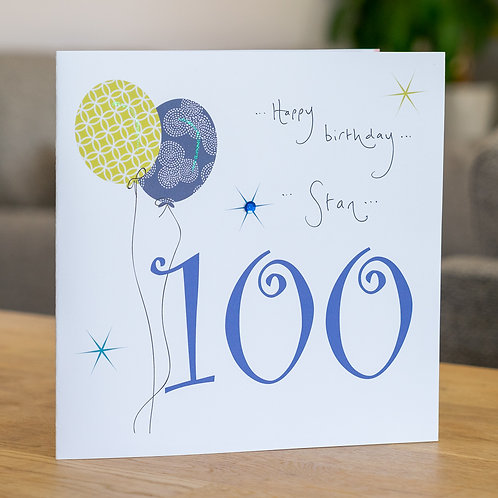 Birthday Balloon - Age 100 - Large Card