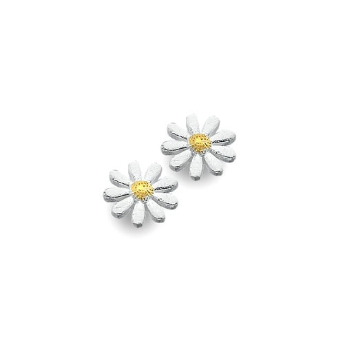 Sterling Silver Domed Centre Daisy Stud Earrings