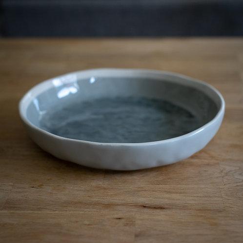 Grey Crackle Glazed Artisan Ceramic Shallow Bowl - Large
