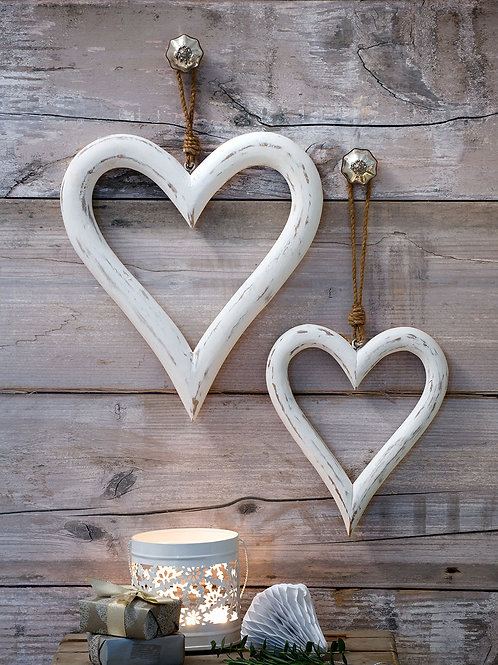 Chunky Whitewashed Wooden Hanging Heart