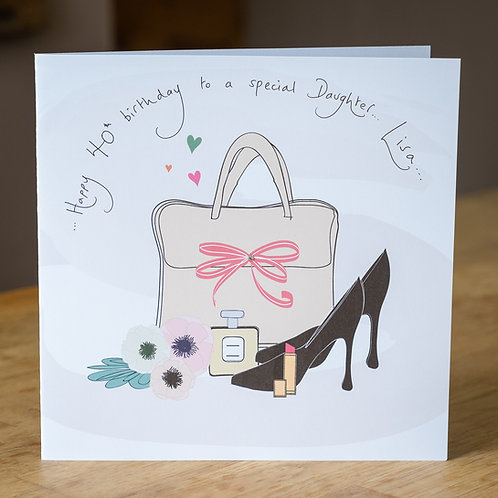 Taupe Handbag, Perfume And Shoes Design - Large Personalised Card