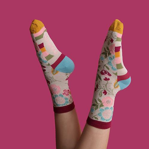 Bamboo Ankle Socks - Scandi Floral Cream
