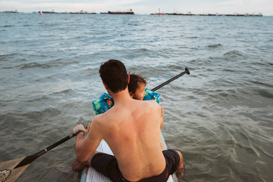 Father Daughter and the sea