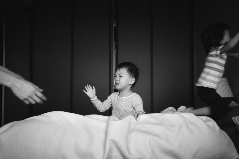 Waking up in the morning captured during family photography
