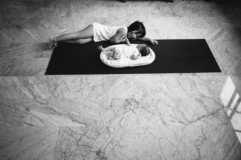 Hannah and Georgia on a yoga mat