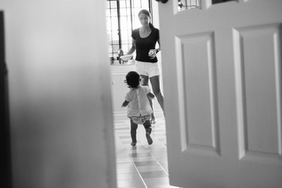 Daughter running to Mother