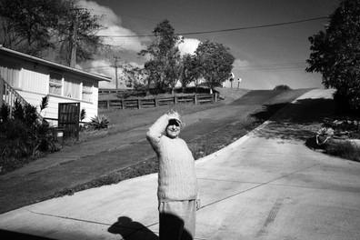 Grandma looking into the sun