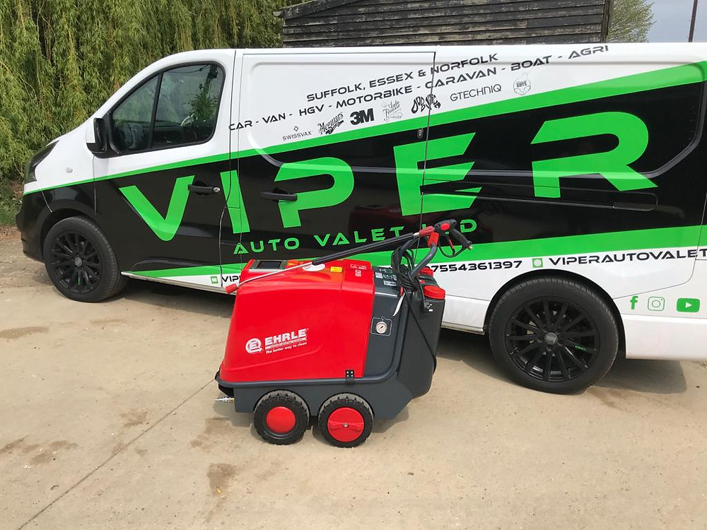 New Hot Pressure Washer. It's a EHRLE HD623. HGV Chassis hot pressure cleaning  for MOT test and inspections. Also valeting and detailing services for farming and machine plants.