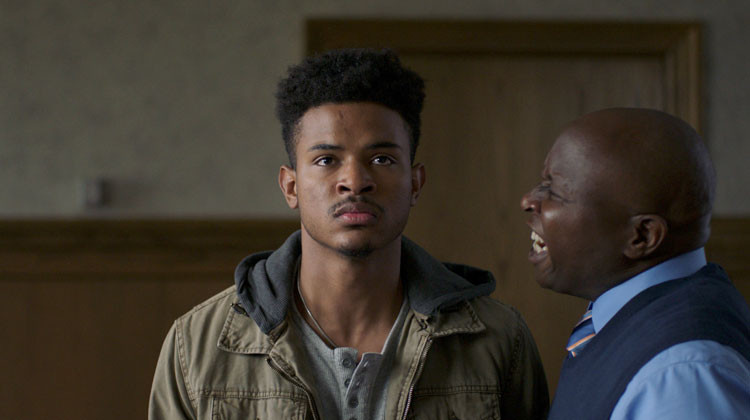"Trevor Jackson (left) stars as Zurich in ""Burning Sands"""