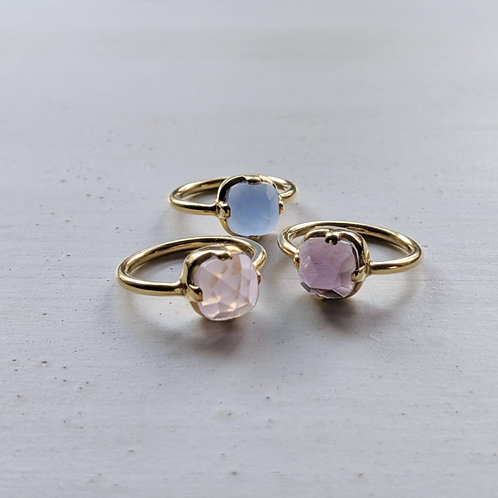 3color natural stone ring