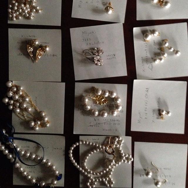 Instagram - コットンパールをつかったサンプル作り  making samples of cotton pearls  #アクセサリー #ネックレス