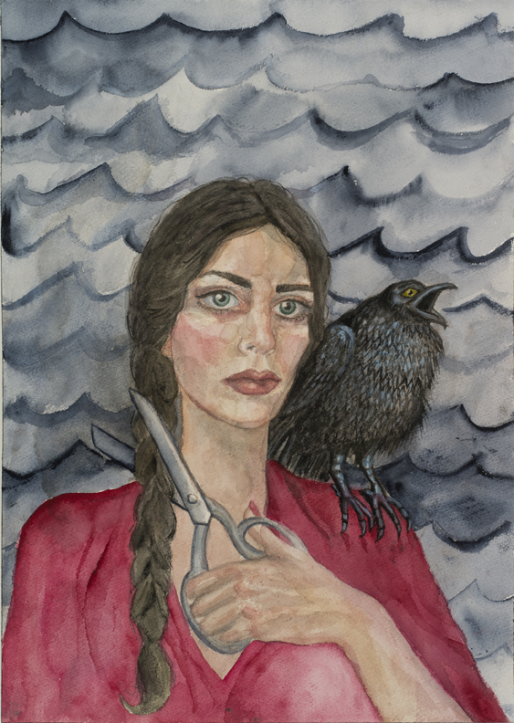 Self -Portrait with Crow