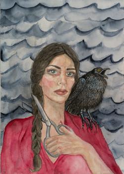 Self -Portrait with Crow