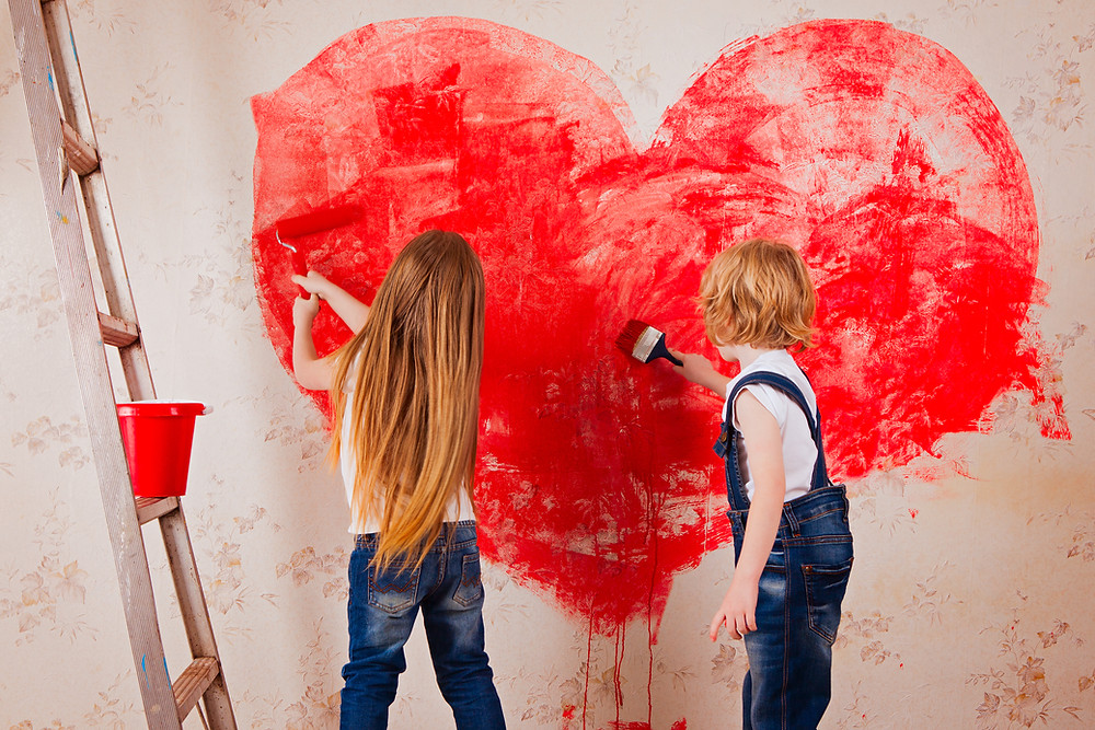 Painting a heart to symbolize love