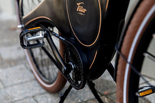 The greaseless belt drive on the Tiller Rides Roadster e-bike