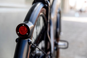 The clever LED lights on a Tiller Rides Roadster electric bike