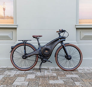 The Tiller Rides Roadster e-bike's moulded aluminium frame