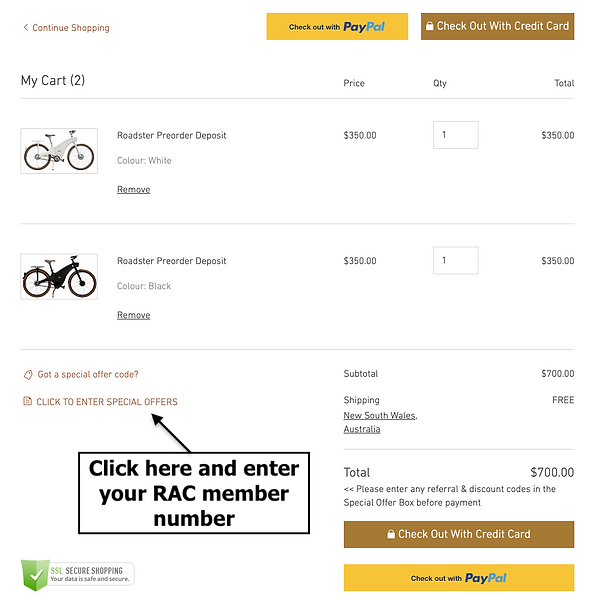 A screenshot demonstrating how a customer can redeem their 10% RAC WA member discount on a Tiller Rides Roadster electric bike